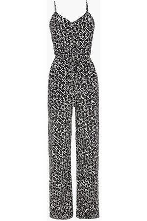 SALONI Woman Loretta Belted Printed Silk Crepe De Chine Wide-leg Jumpsuit Size 10
