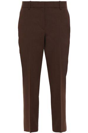 THEORY Woman Cropped Wool-blend Slim-leg Pants Chocolate Size 2