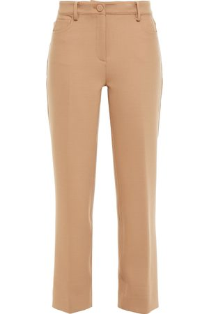 THEORY Woman Cropped Stretch-crepe Straight-leg Pants Sand Size 2