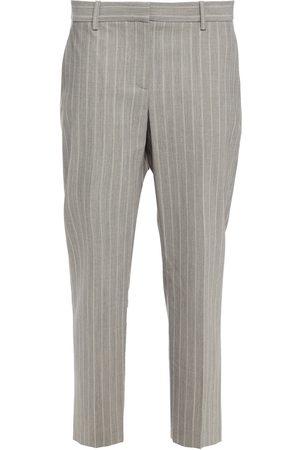 THEORY Women Formal Trousers - Woman Cropped Striped Wool-blend Slim-leg Pants Gray Size 4