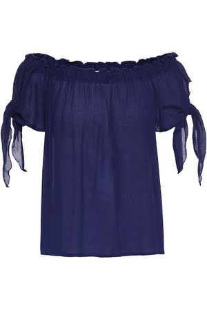 Eberjey Women Beachwear - Woman Summer Of Love Silvy Off-the-shoulder Bamboo And Cotton-blend Gauze Top Navy Size L