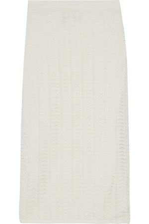 THEORY Woman Crocheted Cotton-blend Pencil Skirt Ivory Size M