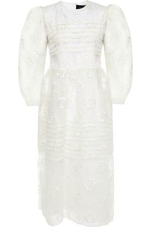 SIMONE ROCHA Woman Gathered Embroidered Organza Midi Dress Ivory Size 12