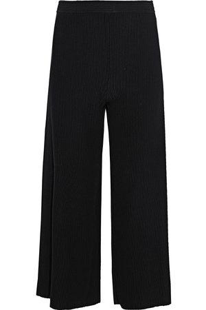 THEORY Woman Cropped Ribbed-knit Wide-leg Pants Size L