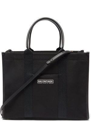Balenciaga Neo Navy M Leather-trimmed Canvas Tote Bag - Womens