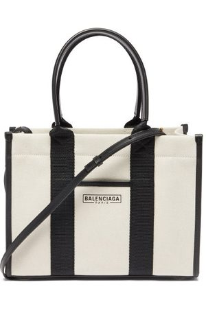 Balenciaga Neo Navy S Leather-trimmed Canvas Tote Bag - Womens - Cream