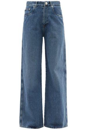 Miu Miu Crystal-embellished Wide-leg Jeans - Womens - Denim