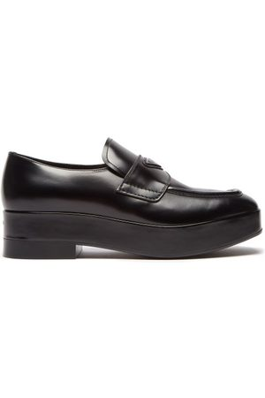 Prada Men Loafers - Triangle Logo-plaque Leather Loafers - Mens