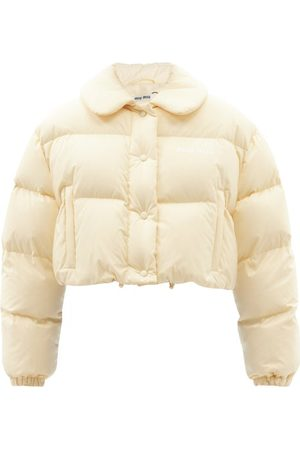 Miu Miu Cropped Quilted-shell Jacket - Womens - Cream