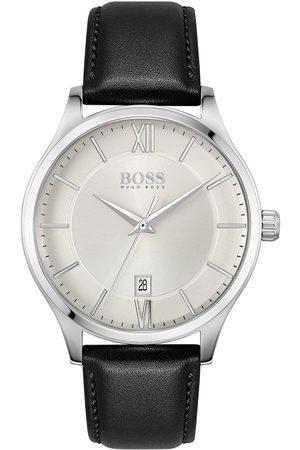 HUGO BOSS Elite Silver Date Siler Leather Strap Watch