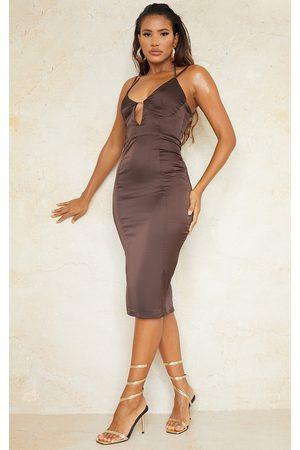 PRETTYLITTLETHING Chocolate Satin Strappy Halterneck Detail Split Hem Midi Dress