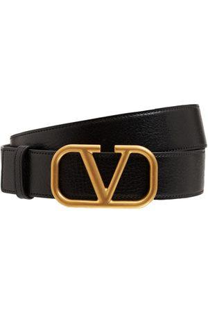 VALENTINO GARAVANI 3.5cm V Buckle Leather Belt