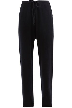 EXTREME CASHMERE No.142 Run Stretch-cashmere Wide-leg Track Pants - Womens - Navy