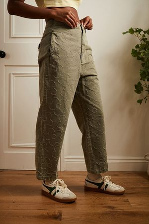 BDG Ella Tufted Flower Chinos - Green UK 6 at Urban Outfitters