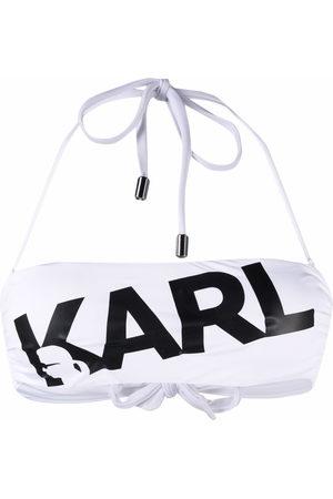 Karl Lagerfeld Women Bikinis - Logo print bandeau bikini top