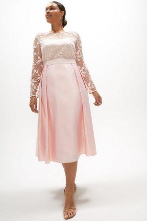 Coast Coast Curve Embroidered Bodice Satin Skirt Dress