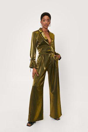 NASTY GAL Womens Metallic Satin Pleated Wide Leg Trousers