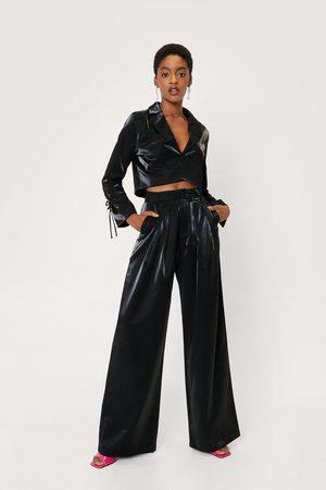 NASTY GAL Women Wide Leg Trousers - Womens Glass Fabric High Waisted Wide Leg trousers