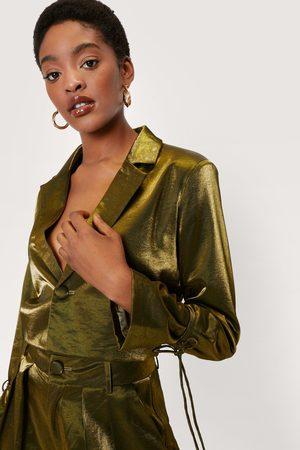 NASTY GAL Womens Metallic Satin Cropped Blazer