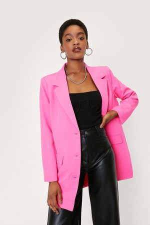 NASTY GAL Womens Oversized Double Breasted Longline Suit Blazer