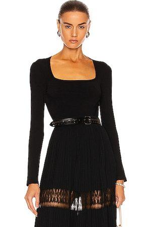 Alaïa Long Sleeve Bodysuit in Noir