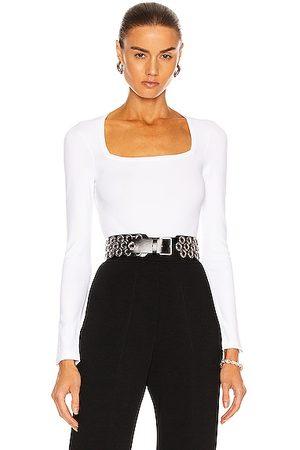Alaïa Long Sleeve Bodysuit in Blanc