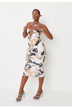 Missguided Karla Jara X Swirl Print Ring Midaxi Dress