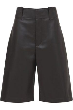 Bottega Veneta Women Bermudas - Wide Leg Leather Bermuda Shorts