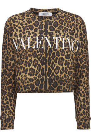 VALENTINO Logo Printed Cotton Jersey Sweatshirt