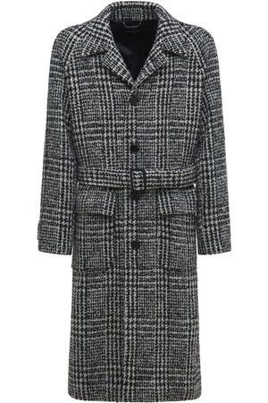 Dolce & Gabbana Wool Blend Houndstooth Coat