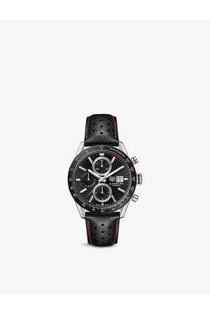 Tag Heuer Men Watches - CBM2110.FC6454 Carrera stainless-steel and leather automatic watch
