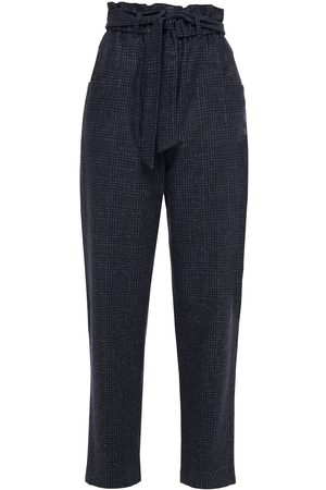 Maje Women Trousers - Woman Belted Checked Brushed Wool-blend Tapered Pants Navy Size 36