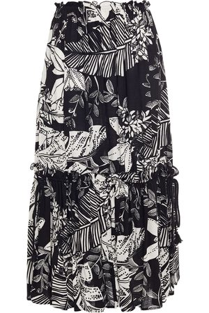 See by Chloé Women Midi Skirts - See By Chloé Woman Ruffle-trimmed Printed Cotton-blend Midi Skirt Size 36