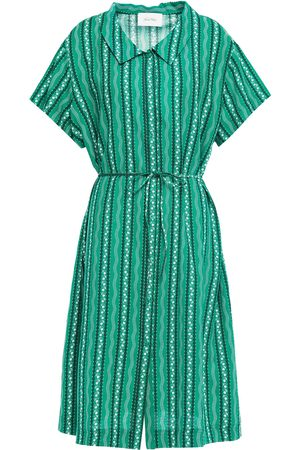American Vintage Women Casual Dresses - Woman Belted Printed Cotton And Linen-blend Shirt Dress Jade Size L