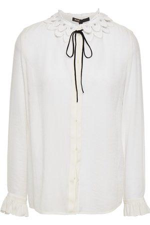 Maje Women Blouses - Woman Lace-trimmed Gauze Blouse Ecru Size 1
