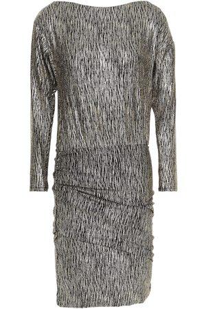Maje Women Knitted Dresses - Woman Ruched Metallic Stretch-knit Mini Dress Platinum Size 36