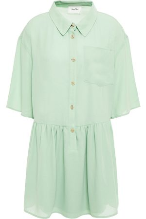 American Vintage Women Casual Dresses - Woman Nolan Gathered Crepe Mini Shirt Dress Mint Size XS/S
