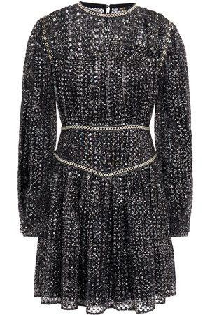 Maje Women Printed Dresses - Woman Sequined Printed Chiffon Mini Dress Size 36