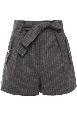 Maje Women Shorts - Woman Belted Pinstriped Wool And Cashmere-blend Shorts Anthracite Size 36