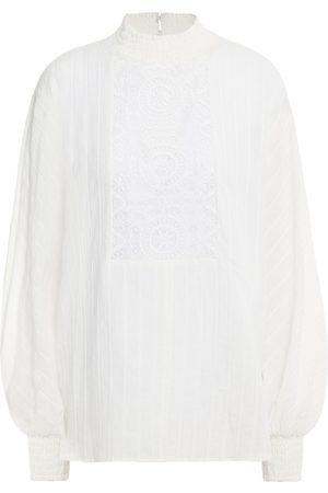 Maje Women Blouses - Woman Lentel Guipure Lace-trimmed Cotton Blouse Size 1