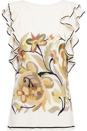 Etro Women Tank Tops - Woman Ruffled Printed Wool Top Cream Size 40