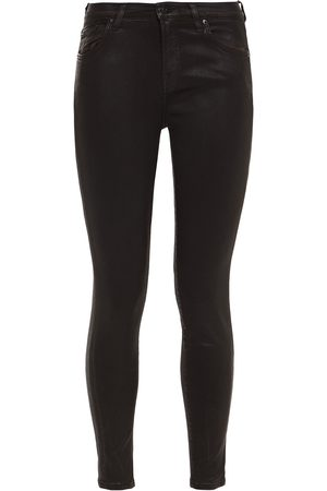 7 for all Mankind Women Skinny - Woman The Skinny Coated Mid-rise Skinny Jeans Dark Size 24