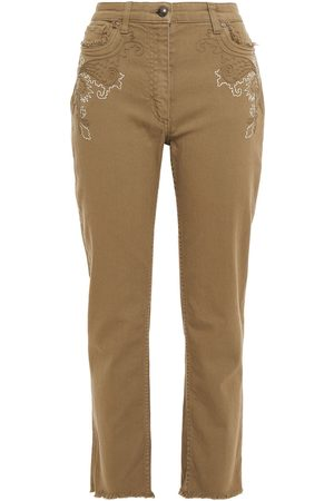 Etro Women Straight - Woman Embroidered High-rise Straight-leg Jeans Army Size 26