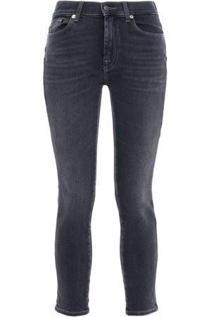7 for all Mankind Women Skinny - Woman Faded Mid-rise Skinny Jeans Anthracite Size 23