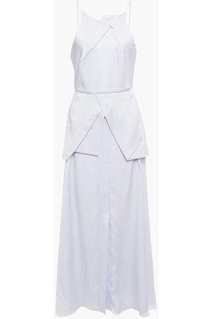 Roland Mouret Women Maxi Dresses - Woman Chora Hammered Silk-satin Peplum Maxi Dress Sky Size 8