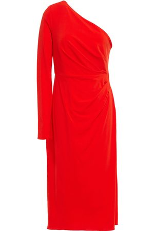 Halston Heritage Women Casual Dresses - Woman One-shoulder Ruched Stretch-jersey Midi Dress Tomato Size 10