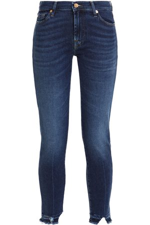 7 for all Mankind Women Skinny - Woman Cropped Distressed Mid-rise Skinny Jeans Dark Denim Size 25