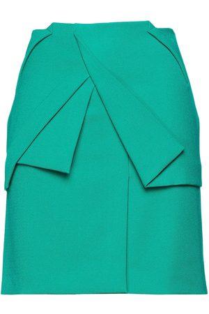 Roland Mouret Woman Belle Pleated Crepe Mini Skirt Jade Size 8