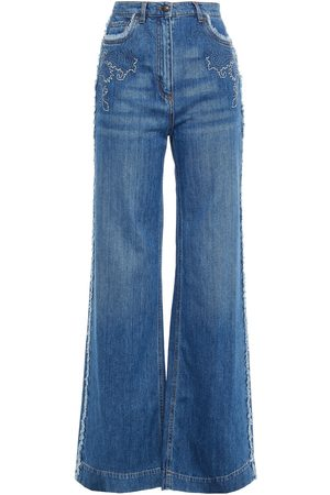Etro Women Bootcut - Woman Embroidered High-rise Wide-leg Jeans Mid Denim Size 26