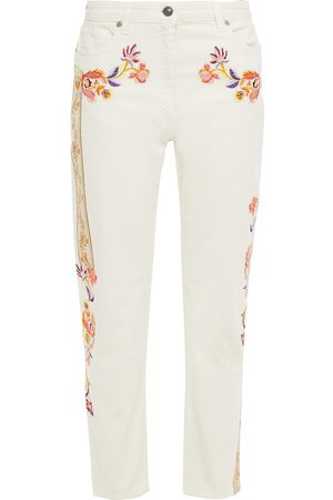 Etro Woman Embroidered High-rise Straight-leg Jeans Ivory Size 27